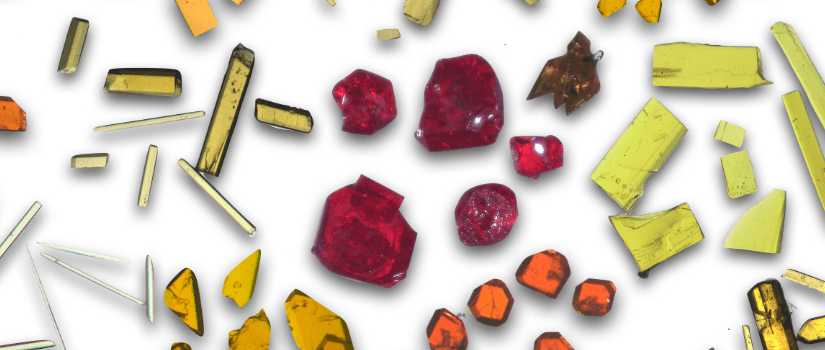 Crystals in various colors including red, green and amber