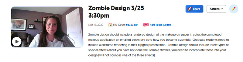 : A screenshot showing Valerie Pruett explaining the requirements of the zombie makeup assignment.