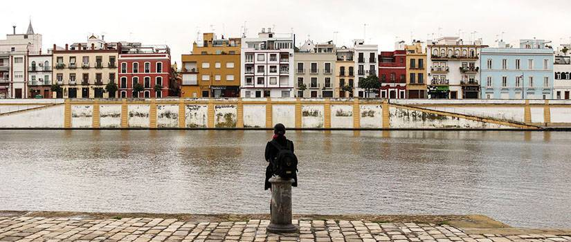 Student on a brick path staring at row houses across a river