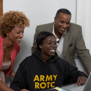 ROTC with laptop with parents