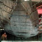 Moving the vessel into the SCIAA conservation tank. (SCIAA photo)
