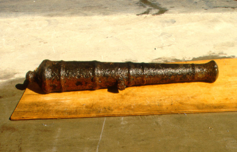 One of the cannons recovered by sport divers and conserved by SCIAA. (SCIAA photo)