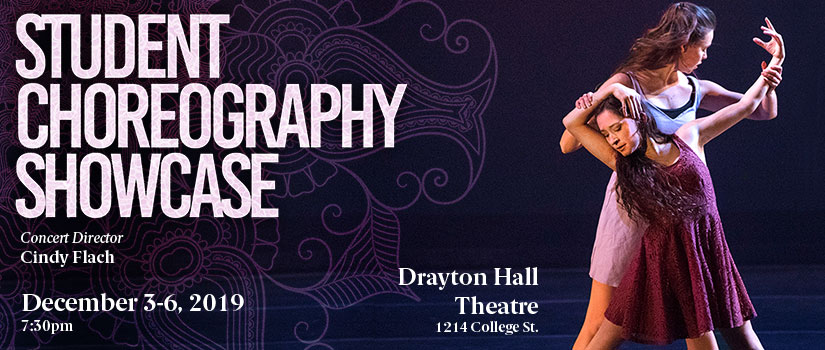 Fall 2019 Choreography Showcase Poster --  Two dancers performing.