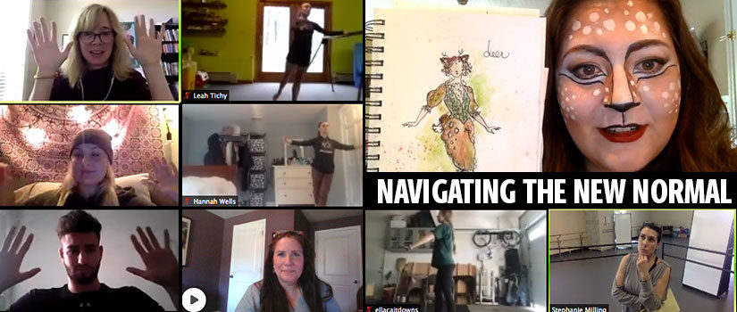 Screenshots of students during online class sessions, including a large image of a student in animal face makeup holding up a notebook showing a sketched design.
