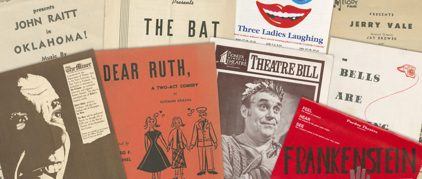 Collage of old theatre playbills from the Jim O'Connor and Erica Tolbolski Theatre Program Collection