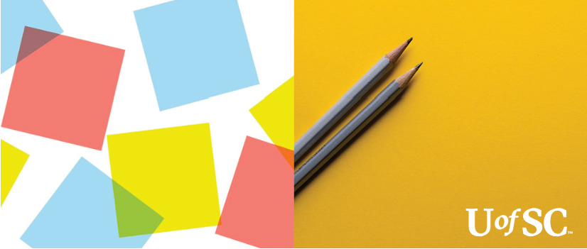 colorful shapes and pencils on a yellow background