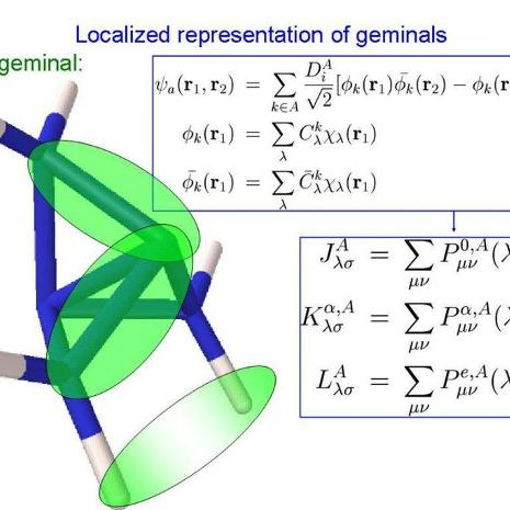 Geminal wavefunction representation of propellane molecule