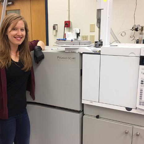 Amy Cuthbertson (PhD student) with our LECO GC-high resolution time-of-flight mass spectrometer.