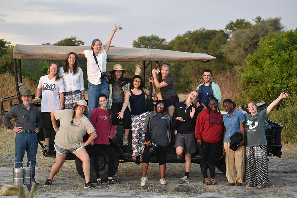 Malawi 2018: The School of Journalism and Mass Communications Malawi study abroad class on safari. Not pictured is instructor Scott Farrand, who is taking the photo.