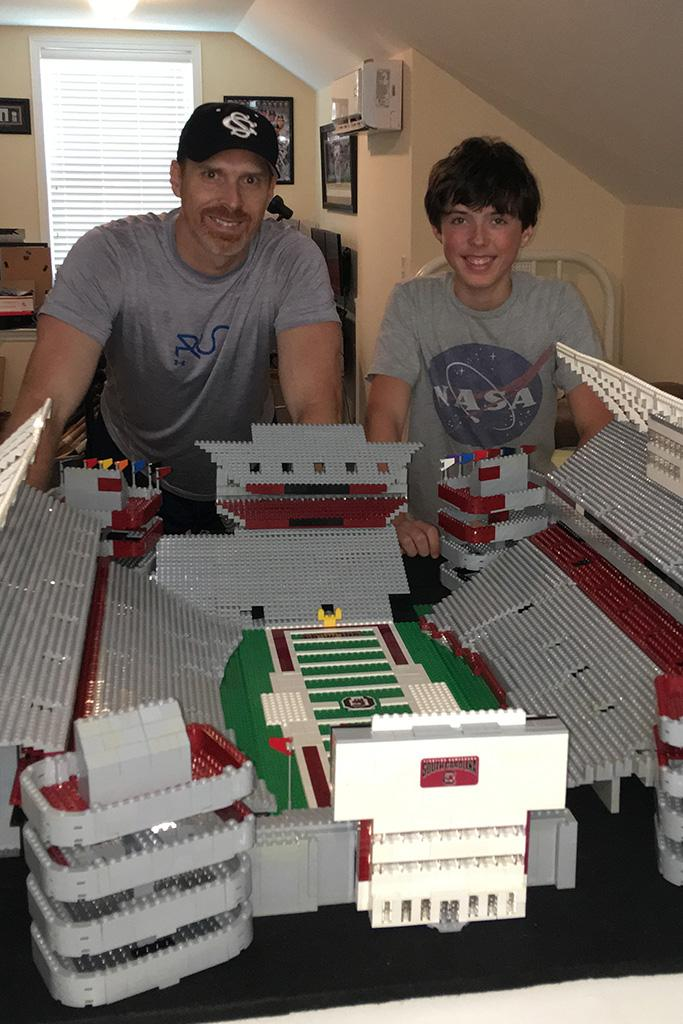 Alumnus David Robinson and his son, David, created a replica of Williams-Brice Stadium out of Legos.