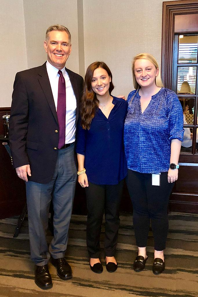 Dean Tom Reichert with PR major Reeves Simmons, recipient of the CIC Alumni Society Scholarship, along with CIC Alumni Council member Ashley Pullen.