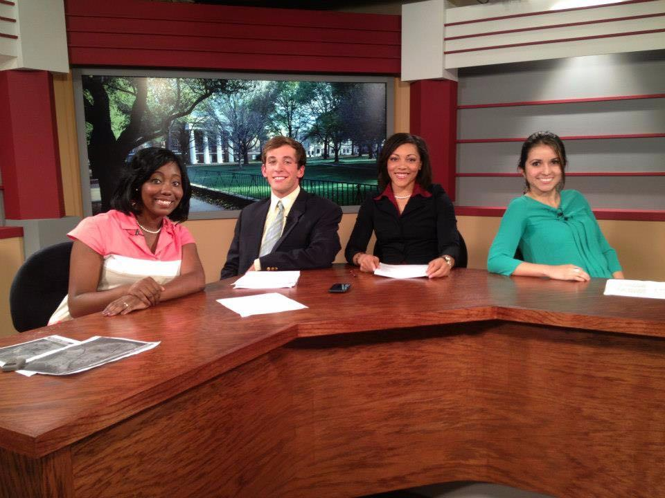 La'Keisha Sutton (third from left) completed her broadcast degree in the senior semester capstone course.