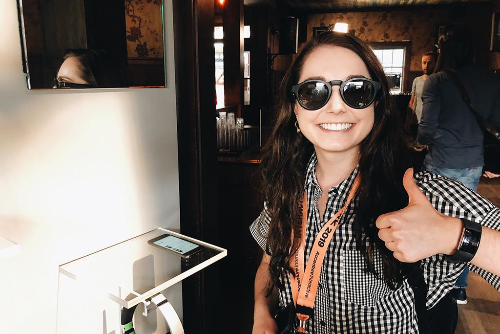 Author Kristin Stitzlein tests out Bose's new smart sunglasses.