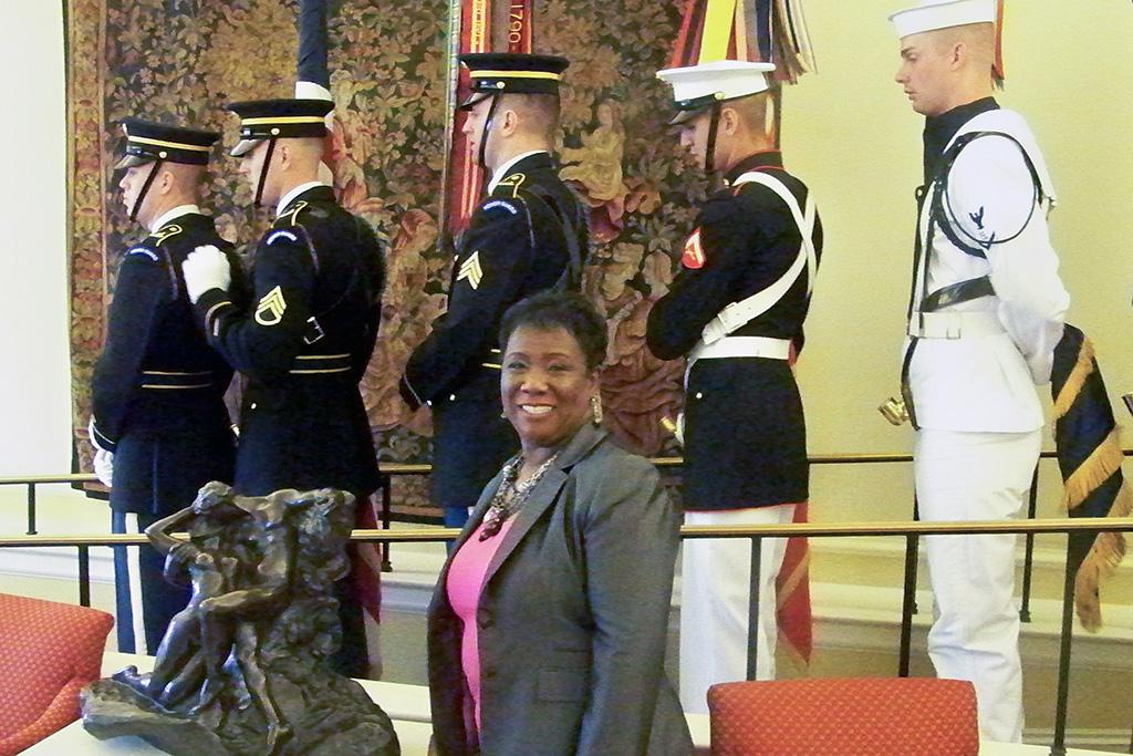 Pamela Davenport attending the Network Library of the Year Award with the color guard prior to the event.