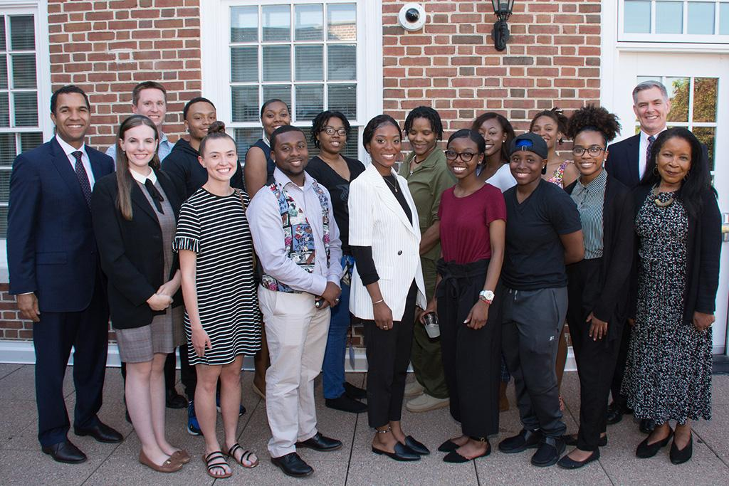 The opening reception for the inaugural Digital Media Academy. Joining the students and faculty were Dr. John Dozer, UofSC's chief diversity officer (far left).