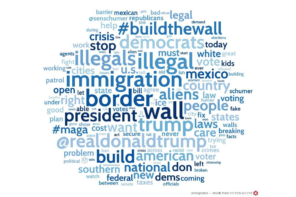 President Donald Trump was the main influencer in conversations related to immigration. President Trump's language on this issue is prevalent in the South Carolina word cloud for all content sources.