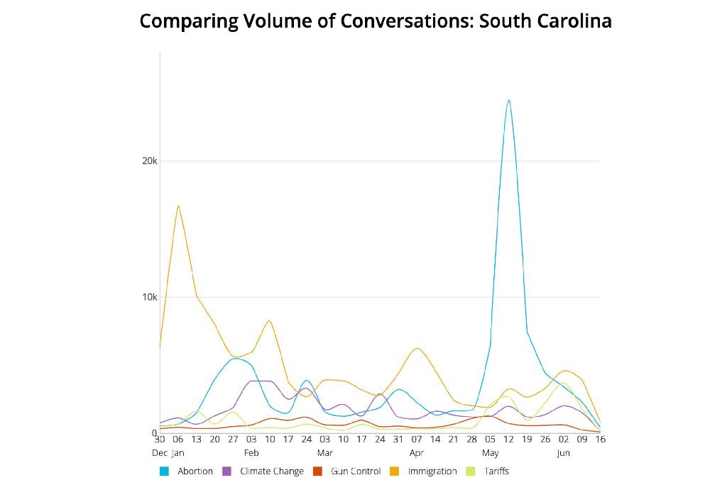 "Though there were more total posts related to the topic of immigration, conversations about the topic of abortion saw the most growth in May after Alabama passed a near-total abortion ban, the ""Human Life Protection Act."" South Carolina closely mirrors the nation as a whole when looking at topics of conversation related to political issues. The early spike in conversation related to immigration coincided with President Donald Trump's address to the United States about border security."