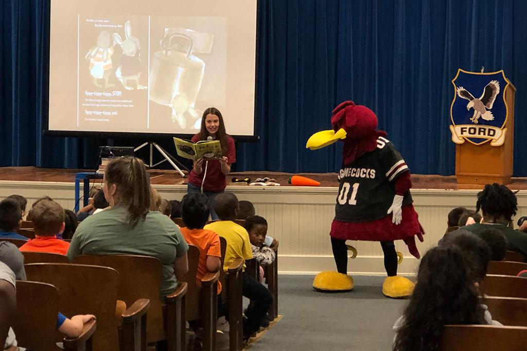 Cocky's Reading Express at Ford Elementary School.