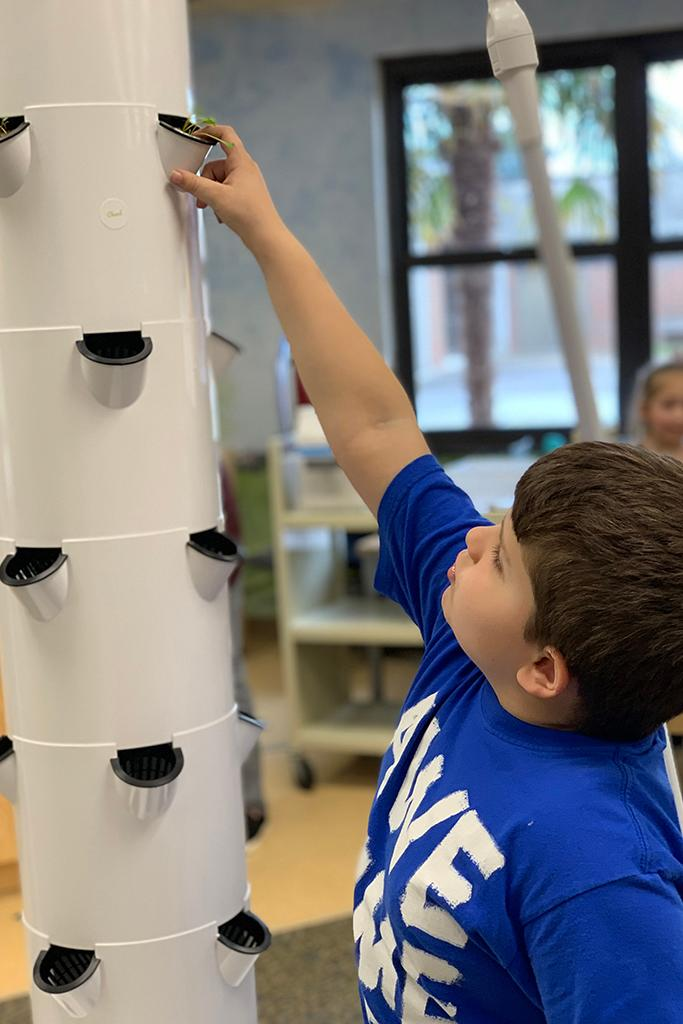 A student explores the indoor hydroponic tower garden.