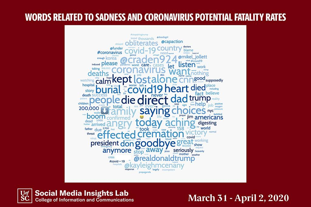 "The Word Cloud shows social media use of words such as ""lost,"" ""alone,"" ""die"" and ""cremation."""