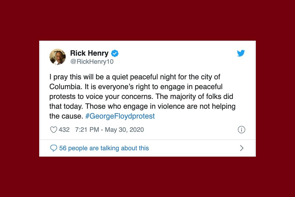 For conversations about the protests, prominent South Carolinians like U.S. Sen. Tim Scott, NBC Today Show anchor Craig Melvin and WIS sportscaster Rick Henry were among the most retweeted commenters. Each expressed pleas for peace, as illustrated in the screenshots of their tweets.