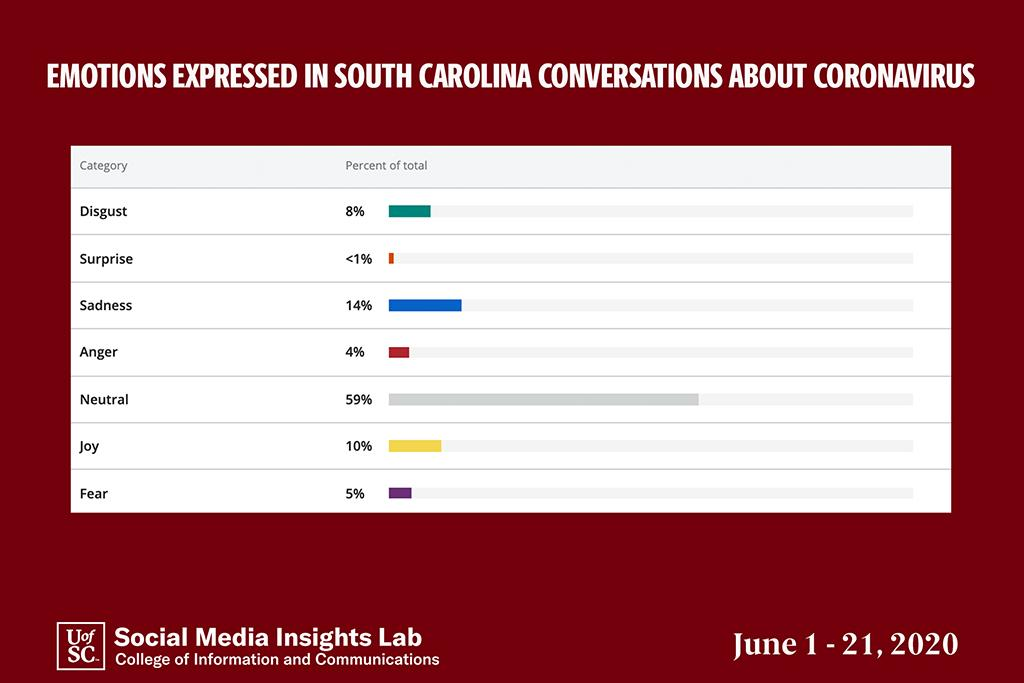 Using artificial intelligence, the Insights Lab found that the predominant emotion in South Carolina social media conversations was sadness.