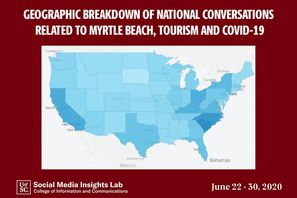 This map of the U.S. shows the states with the most social media posts discussing Myrtle Beach, led by South and North Carolina and followed by California, Ohio and Kentucky.