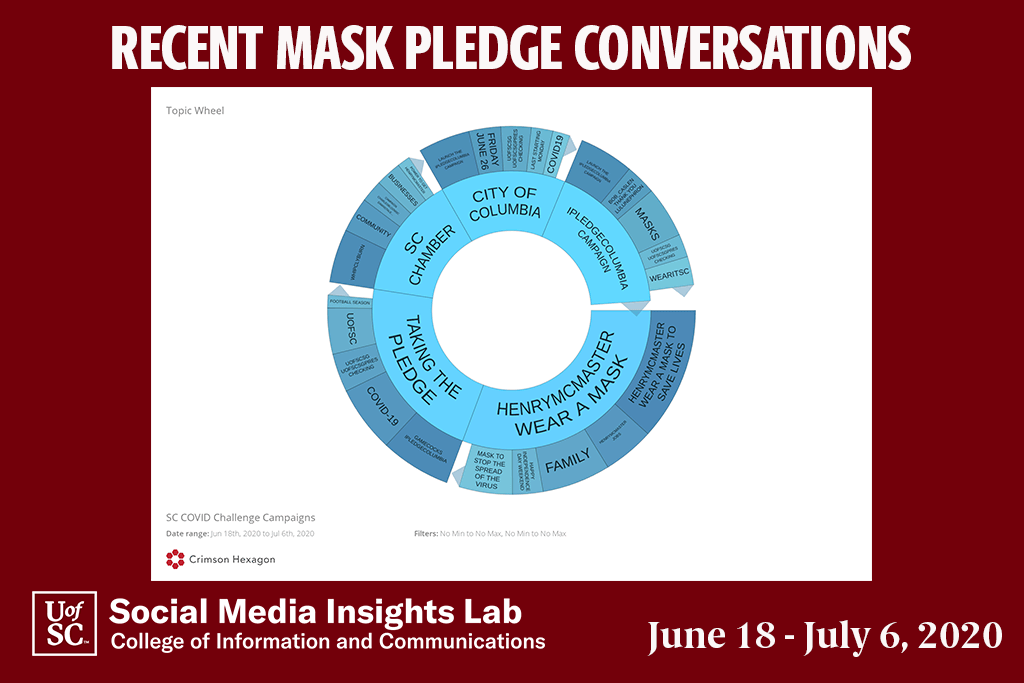 This topic wheel shows the common themes of taking the pledge and wearing a mask.