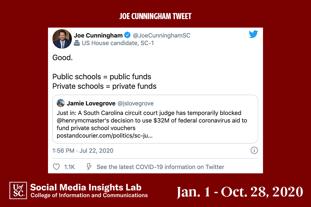 Joe Cunningham received a positive response when he supported using coronavirus relief funds for public, not private schools.