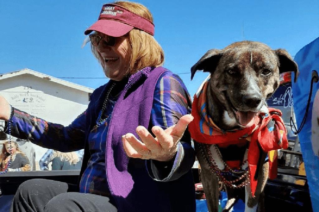 Sam Hastings enjoying life with her dog Rozland.