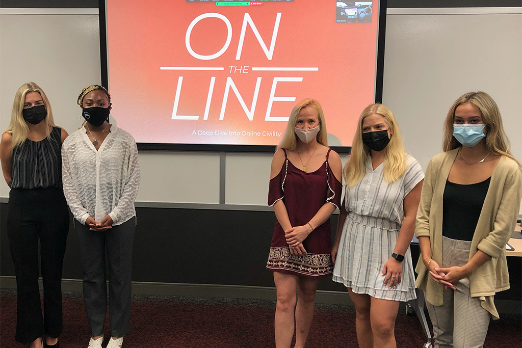 Public relations seniors on the 2021 Bateman Team: (l to r) Hannah O'Toole, Contessa Davis, Alexandrea Pardue, Olivia Dodds and Stephanie Justice.