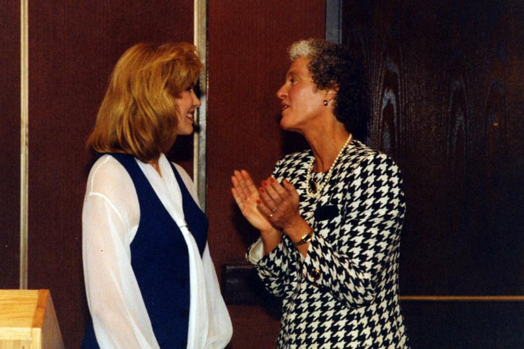 Dean Turk with alumna Leeza Gibbons in 1992.