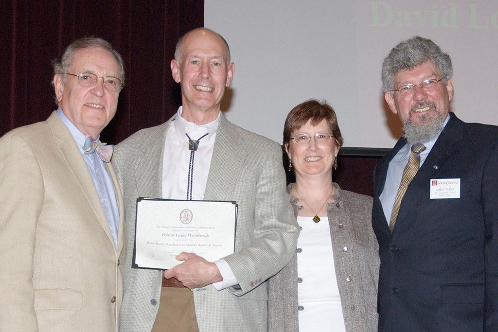David Weintraub received the Bryce Rucker Research Award in 2007.  He's pictured here (l to r) with former UofSC President Andrew Sorenson, Lynn Zoch and James Buggy.