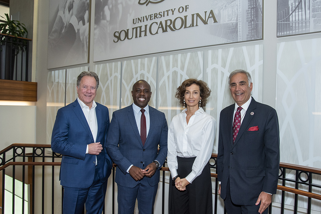 The Information Saves Lives forum featured (l to r):  former South Carolina governor and now executive director of the World Food Programme David Beasley; J-school alumnus and ABC News correspondent Kenneth Moton; UNESCO Director-General Audrey Azoulay; and UofSC Interim President Harris Pastides.
