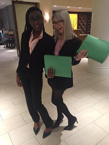 Krystyn Whitty and Betsy Bullock, Summerville HS, return from on-site anchoring competition. Photo courtesy of AJ Chambers.