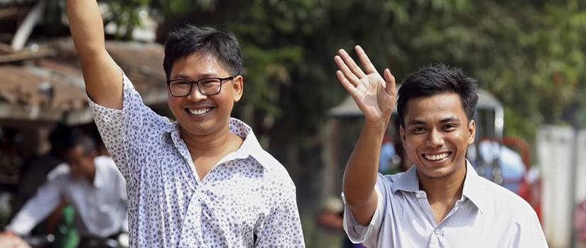 Reuters reporters Wa Lone, left, and Kyaw Soe Oo after being freed from prison, in Yangon, Myanmar, May 7, 2019. Ann Wang/Pool Photo via AP