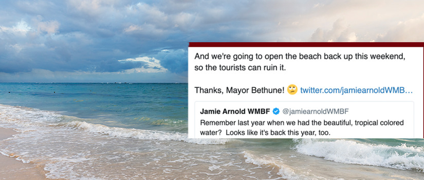 Tweet saying that reopening the beach this weekend will ruin the beach.