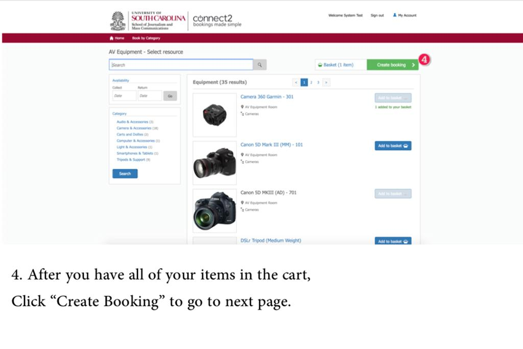 "4. After you have all of your items in the cart, Click ""Create Booking"" to go to next page."