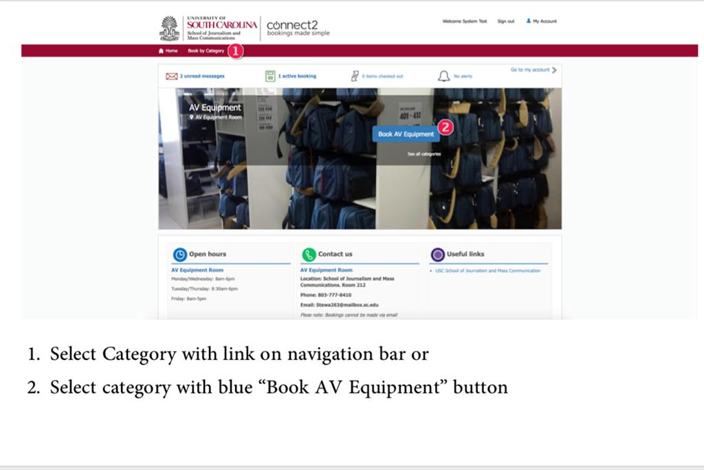 "1. Select Category with link on navigation bar or 2. Select category with blue ""Book AV Equipment"" button."