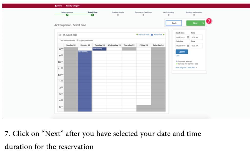 "7. Click on ""Next"" after you have selected your date and time duration for the reservation"