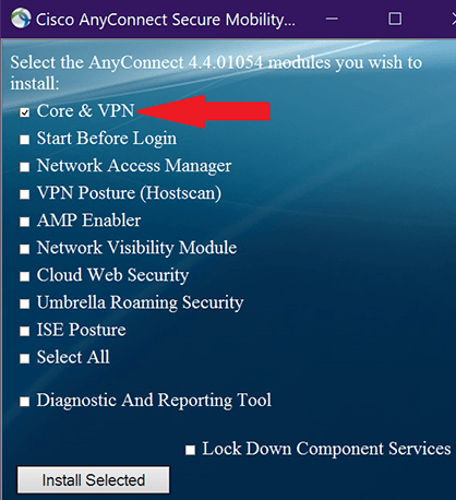 screenshot of VPN installation