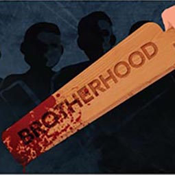 "a bloodstained paddle with the word ""brotherhood"" emblazoned on it"