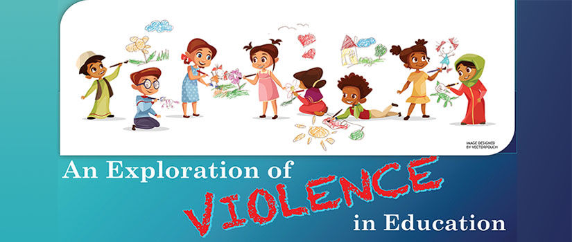 "vector art of children of various races/ethnicities. Text below reads ""An Exploration of Violence in Education."" Artwork by Vectorpouch"