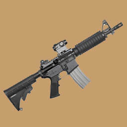 AR-15 Assault Rifle on a brown background