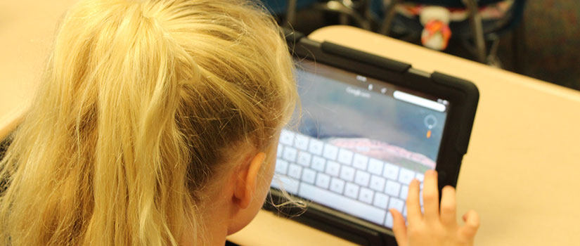 a blond child works on a tablet computer