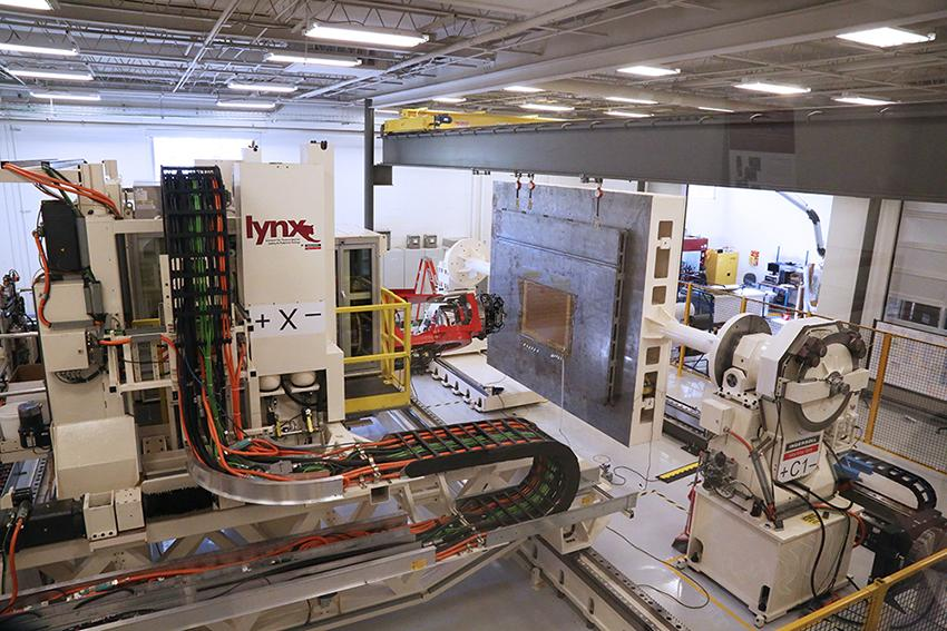 This shows the automated fiber placement machine in McNair.