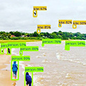 computer generated boxes identify people and objects on a windy beach