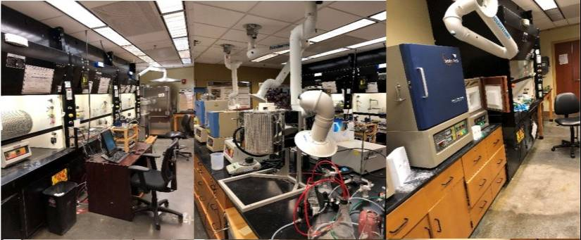 three views of the lab space full of equipment