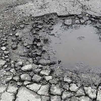 pothole with water in it