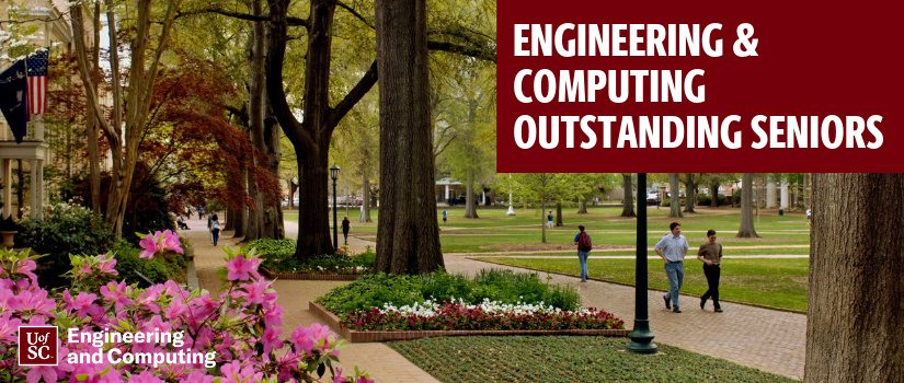 Horseshoe with text: Engineering and Computing Outstanding Seniors